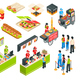 Fast Food Isometric Icons Set