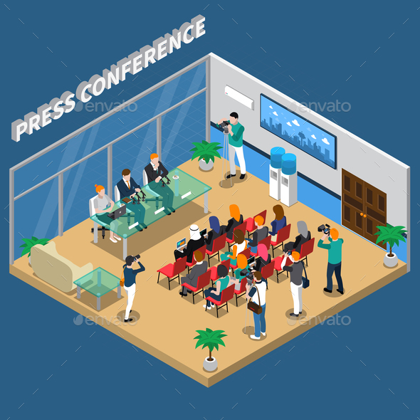 Press Conference Isometric Composition - People Characters