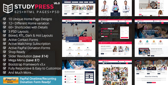 Education & Courses HTML5 Template - StudyPress