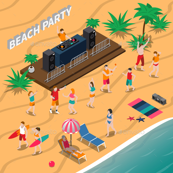 GraphicRiver Beach Party Isometric Composition 20682277
