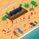 Beach Party Isometric Composition