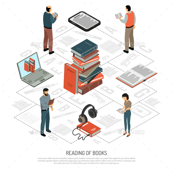 GraphicRiver Book Reading Isometric Flowchart 20682278