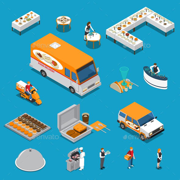GraphicRiver Catering Isometric Icons Set 20682279