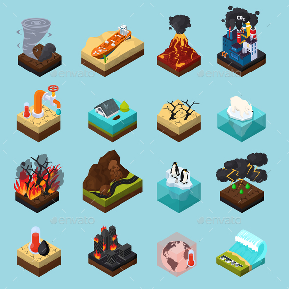 GraphicRiver Global Warming Orthogonal Isometric Icons Set 20682301
