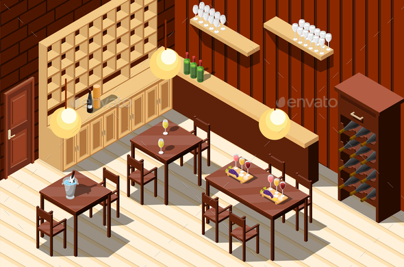 Wine Restaurant Isometric Interior - Miscellaneous Vectors