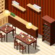 Wine Restaurant Isometric Interior
