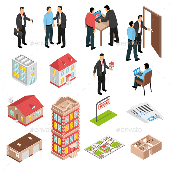 Real Estate Agency Isometric Set - Miscellaneous Vectors