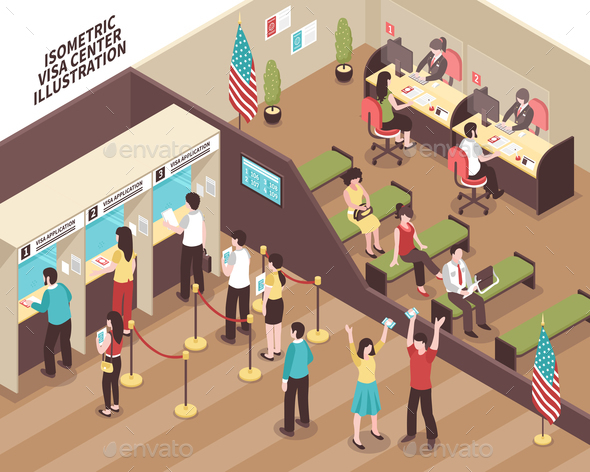 Visa Center Illustration - Buildings Objects