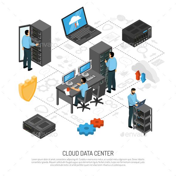 GraphicRiver Cloud Data Center Isometric Flowchart 20682321