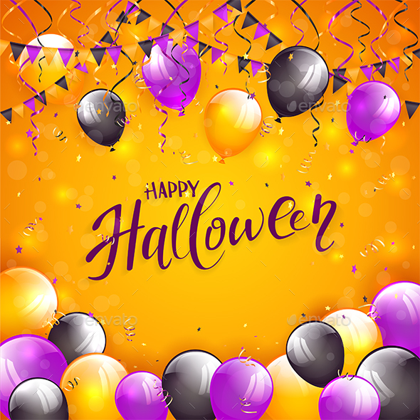 GraphicRiver Orange Halloween Background with Balloons and Pennants 20682334