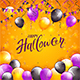 Downlaod Orange Halloween Background with Balloons and Pennants