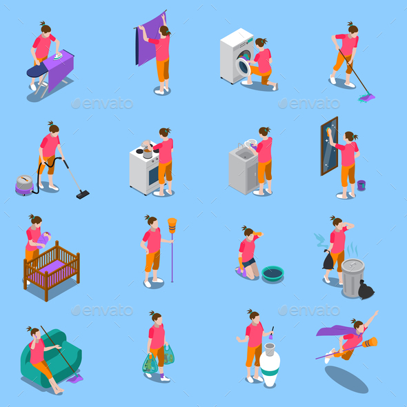Housewife Isometric Icons Set - People Characters
