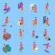 Housewife Isometric Icons Set