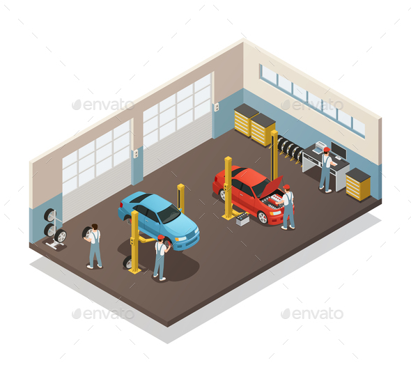 Car Maintenance Service Isometric Interior - Services Commercial / Shopping