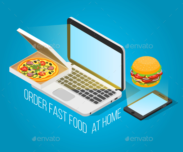 Fast Food Order at Home Isometric Concept - Miscellaneous Vectors