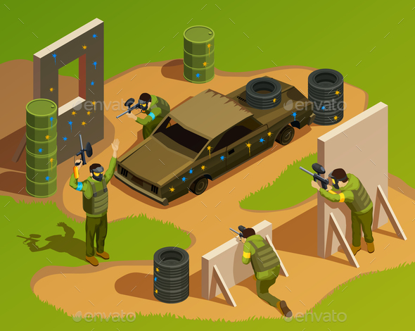 GraphicRiver Outdoor Paintball Isometric Composition 20682362