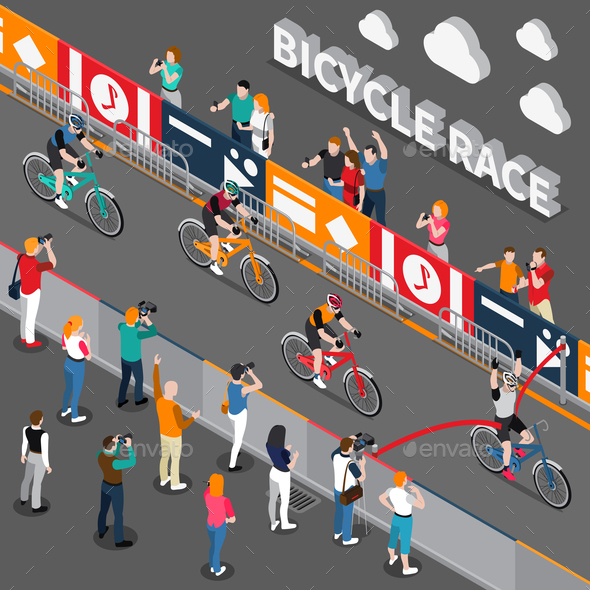 Bicycle Isometric Composition - Sports/Activity Conceptual