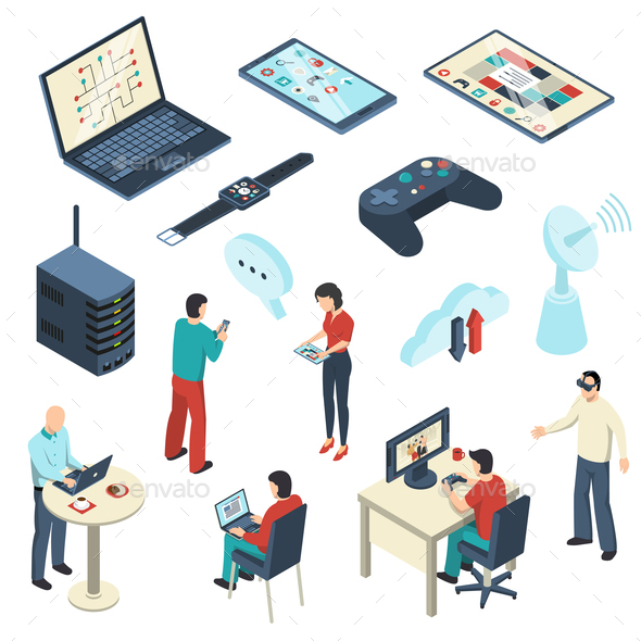 Internet of Things Isometric Set - People Characters