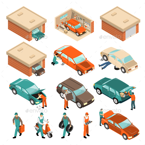 Garage Isometric Set - People Characters