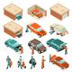 Garage Isometric Set