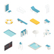 Swimming Pool Isometric Elements Set