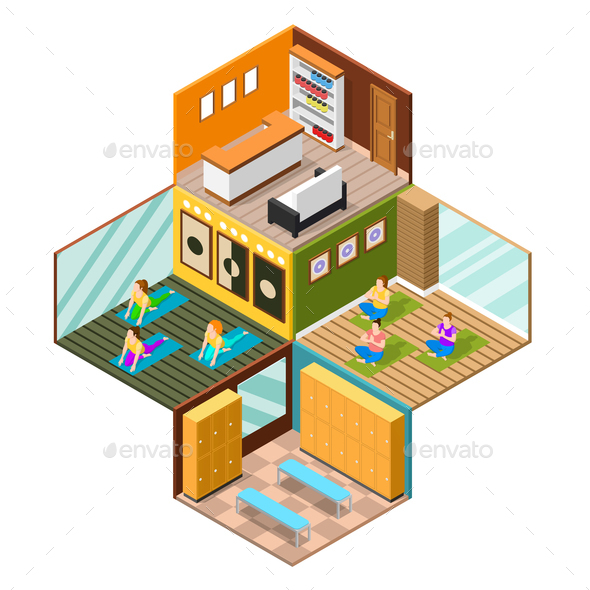 GraphicRiver Isometric Yoga Studio Background 20682382