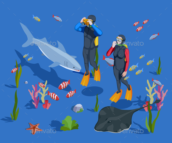 GraphicRiver Underwater Tourism Background Composition 20682385