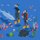 Underwater Tourism Background Composition
