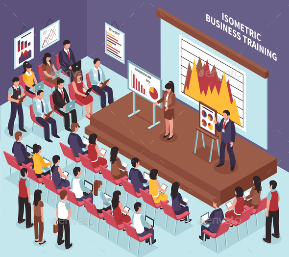 GraphicRiver Isometric Business Training Illustration 20682406