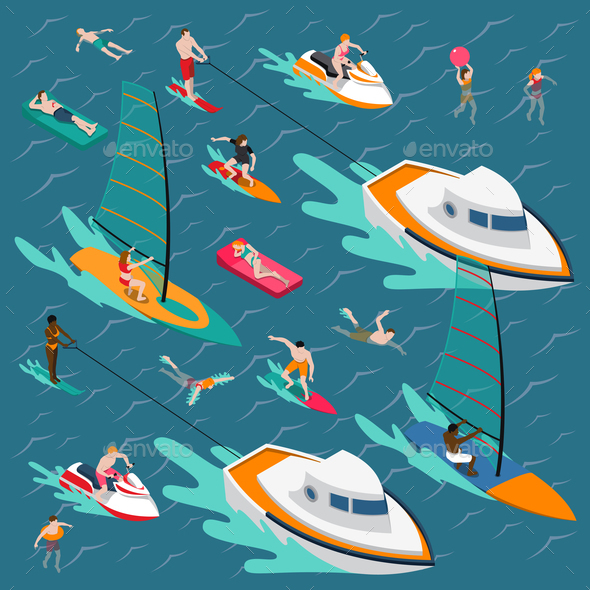 GraphicRiver Water Sports Colored People Composition 20682409