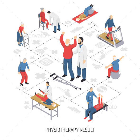 Rehabilitation Care and Physiotherapy Icons - Health/Medicine Conceptual