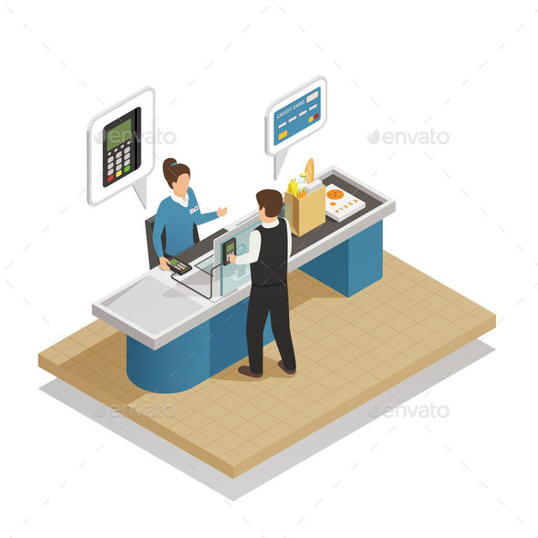 GraphicRiver Payment Methods Cash Isometric Composition 20682412