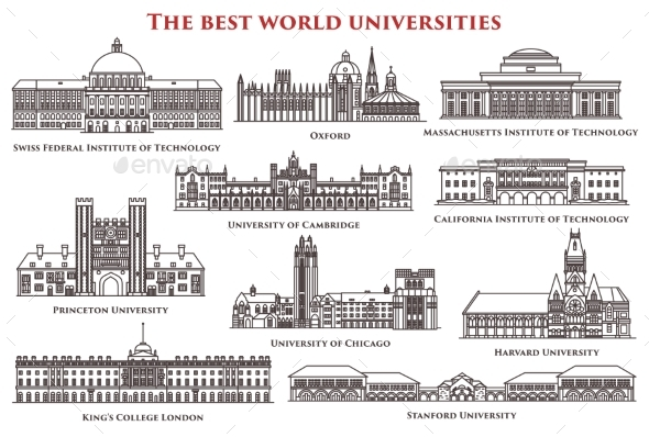 Set of Isolated University and Institute Colleges - Buildings Objects