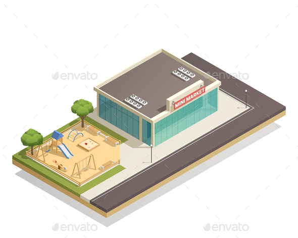 GraphicRiver Kids Playground Near Shop Isometric Composition 20682414