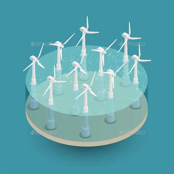 GraphicRiver Green Wind Energy Isometric Composition 20682417