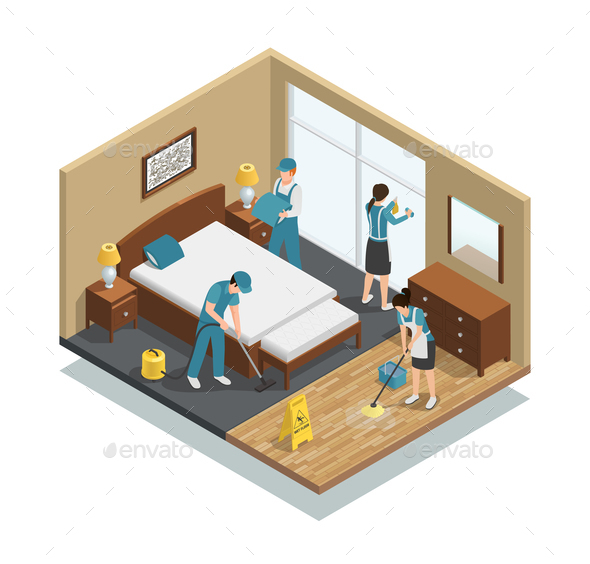 House Cleaning Isometric Composition - Services Commercial / Shopping