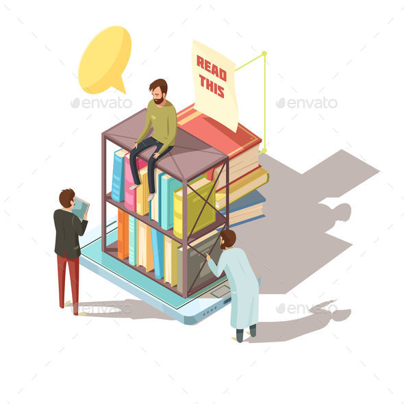 E-learning Isometric Composition - People Characters