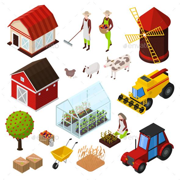 Farm Isometric Elements Set - Animals Characters