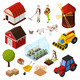 Farm Isometric Elements Set
