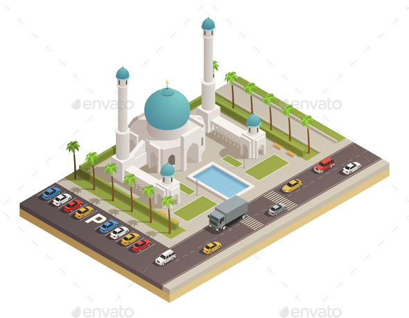 Mosque Minaret Building Isometric Composition - Buildings Objects