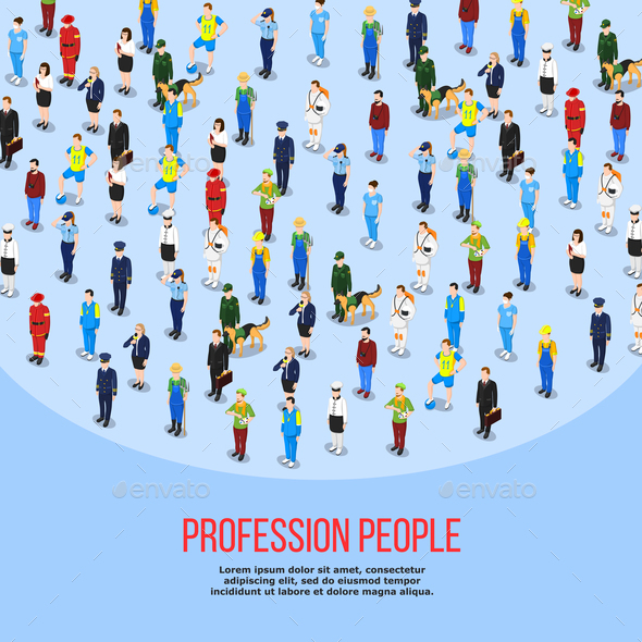 Isometric People Professions Background - People Characters