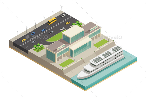 River Port Cruiser Isometric Composition - Buildings Objects