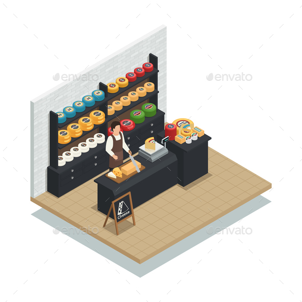 Cheese Seller Isometric Composition Poster - Food Objects
