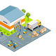 Warehouse Outside View Isometric Illustration