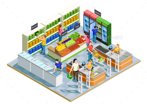 GraphicRiver People Shopping Isometric Illustration 20682429