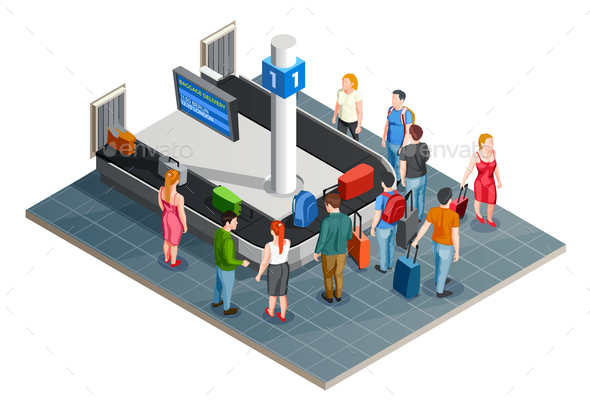 Luggage Carousel Isometric Composition - People Characters