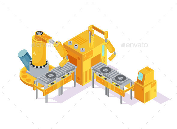 Welding Conveyor Isometric Illustration - Industries Business