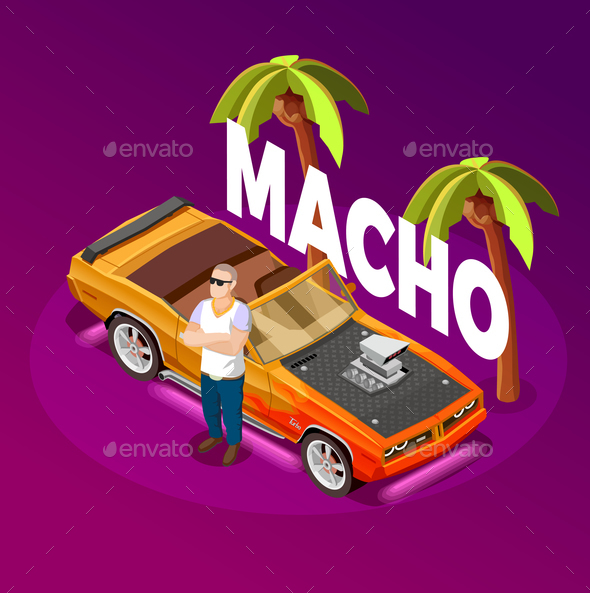 GraphicRiver Macho Man Luxury Car isometric Image 20682440