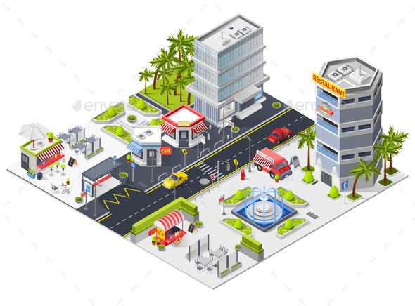 GraphicRiver City Restaurants and Cafe Isometric Composition 20682441