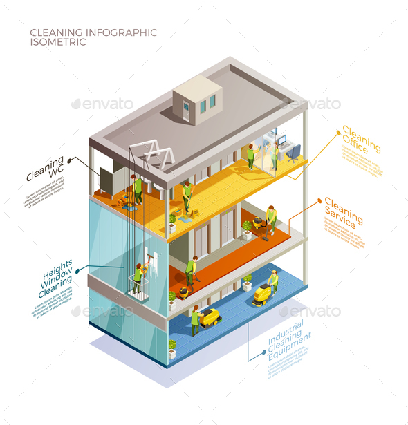 Cleaning Infographic Isometric Layout - Concepts Business